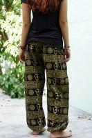 купить чёрные женские индийские штаны шаровары с принтом символ ОМ