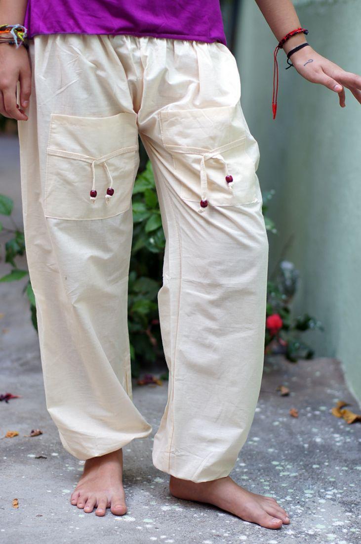 Светлые женские шаровары с карманами (отправка из Индии)