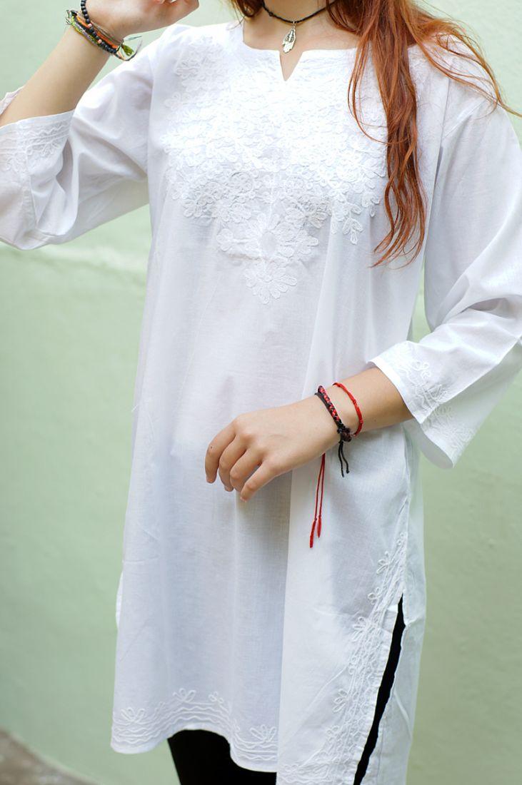 Белая индийская рубашка с белой вышивкой