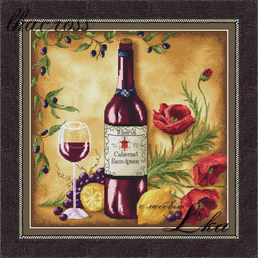 """""""Vine Riserva1 - Red"""". Схема для вышивания крестиком."""