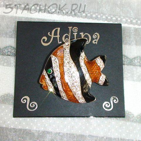 """Брошь """"Экзотическая рыбка-2"""" под серебро/эмаль/стразы"""