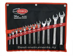 5121 Набор ключей комбинированных Rock FORCE, 12 предметов на полотне.