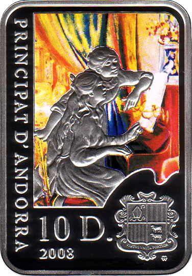 10 динар Андорры 2008 год PROOF Пьер Огюст Ренуар из серии «Мировые художники»