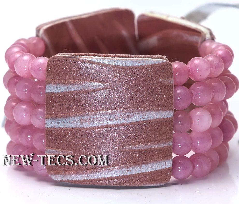 Браслет с розовым кварцем 506NT-KR