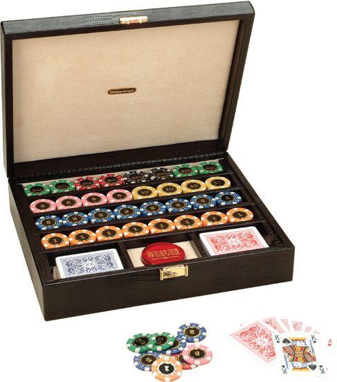Набор для покера в черном боксе, 320 фишек,пластик,2 колоды карт,фишка дилера