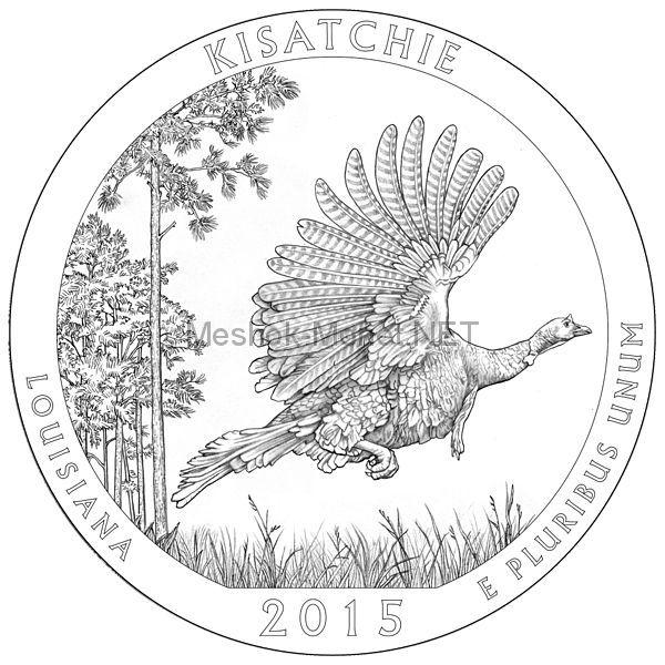 25 центов США 2015 Национальные лес Kisatchie