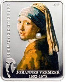Картина Яна Вермеера- Девушка с жемчужной серёжкой Острова Кука 5 долларов, 2009 год