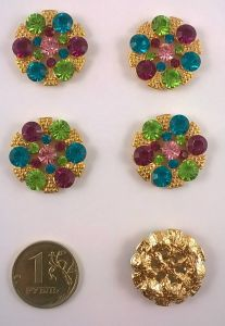 Кабошон, металл, цвет основы - золото, 23 мм. 1уп = 10шт, Арт. КБС0011