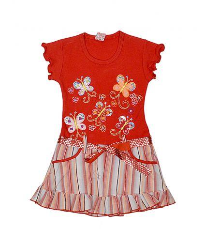 Интересное комбинированное платье с кармашками