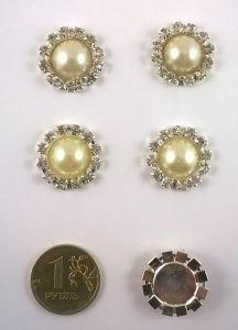 Кабошон, металл, цвет основы - серебро, 21мм. 1уп = 10шт, Арт. КБС0020