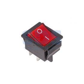 Красный клавишный выключатель 250В 16А (4с) ON-OFF с подсветкой (RWB-502, SC-767, IRS-201-1)