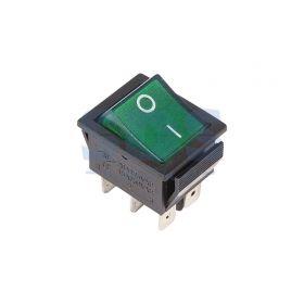 Зеленый клавишный выключатель 250В 15А (6с) ON-ON с подсветкой (RWB-506, SC-767)