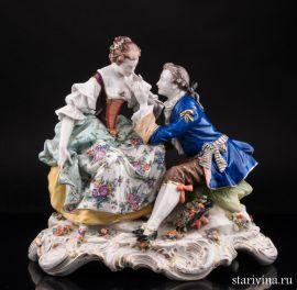 Любовный разговор, романтическая пара, Дрезден, Германия, кон. 19, нач. 20 в