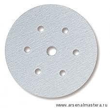 Шлифовальный круг на бумажной основе липучка Mirka Q.SILVER 150мм 6+1 отверстий P500 в комплекте 100шт