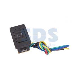 Черный клавишный переключатель стеклоподъемника 12В 20А (6с) ON-OFF-ON с подсветкой и проводом (ASW-21 D)