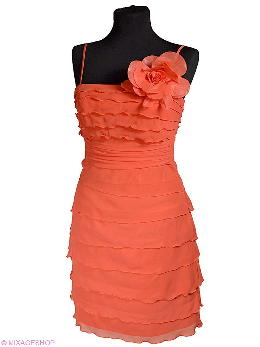 Многоярусное шифоновое платье на атласной подкладке