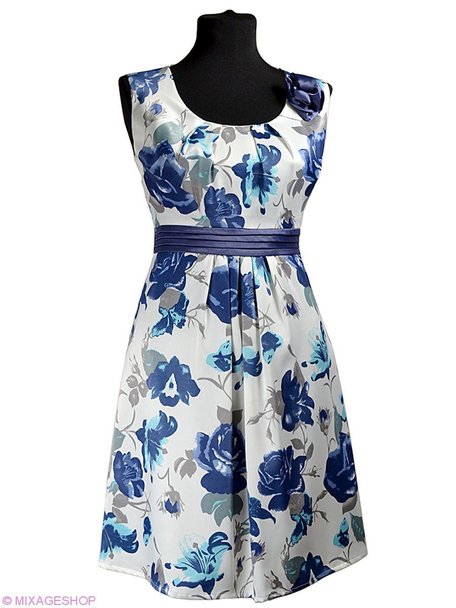 Платье из атласа с цветочным рисунком и цветком-брошью