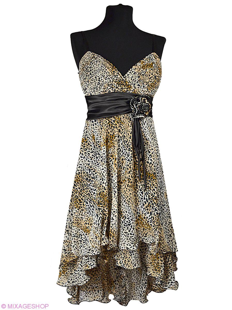 Платье с двухслойной юбкой - спереди короче, сзади длиннее