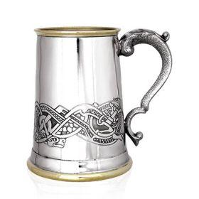 Английская пивная кружка (танкард) Золотой Дракон (латунь, пьютер)