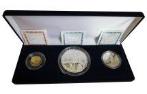 Набор из 3-х официальных монет из драгоценных металлов 70 лет Победы ВОВ