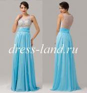 Голубое вечернее платье, расшитое камнями