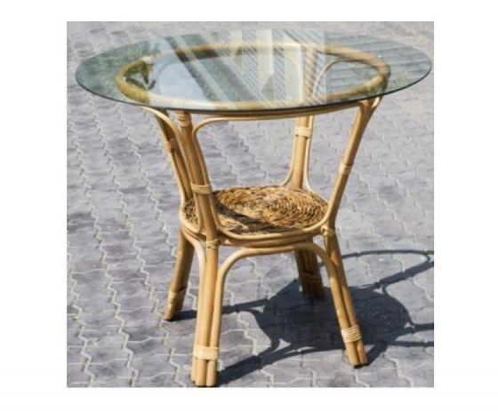 Столик из натурального ротанга со стеклом Браунис