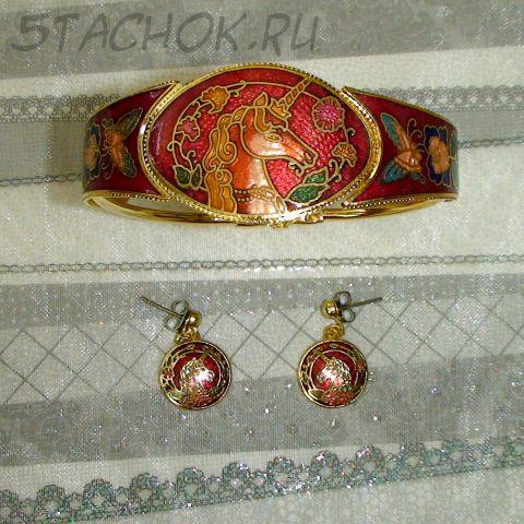 """Серьги и браслет """"Единорог"""" под золото/клуазоне"""