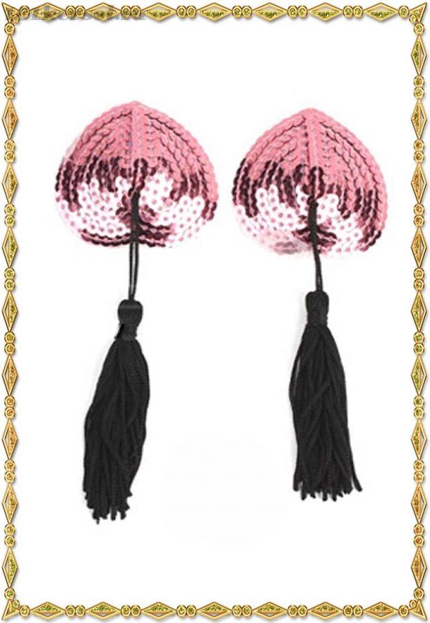 Розовые пестис-сердечки с пайетками и черными кисточками