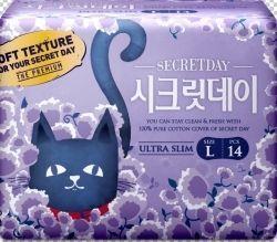 Корейские ультратонкие дышащие органические прокладки Secret Day 28см 14шт