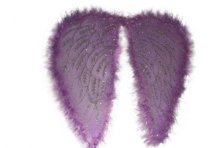 Крылья ангела с пухом фиолетовые