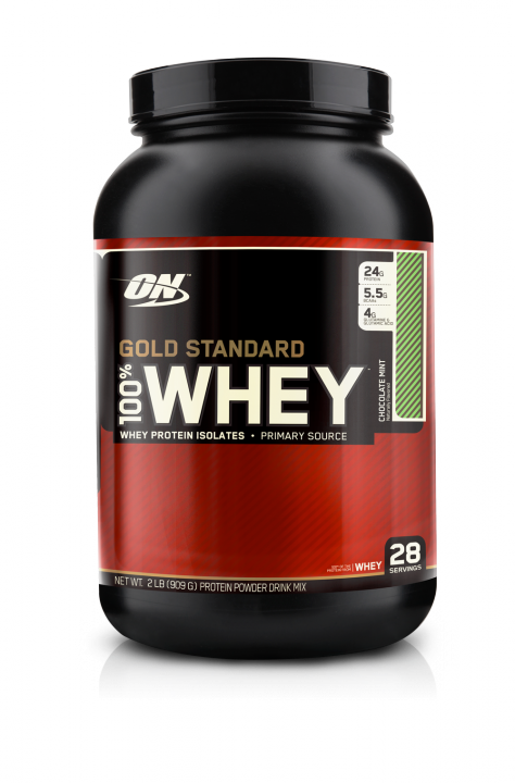 OPTIMUM NUTRITION 100% Whey Protein Gold standard 2 lb (907гр.)  шоколад-мята скл2 1-2дня