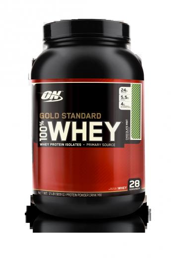 OPTIMUM NUTRITION 100% Whey Protein Gold standard 2 lb (907гр.)  шоколад-мята скл2 1-2дня