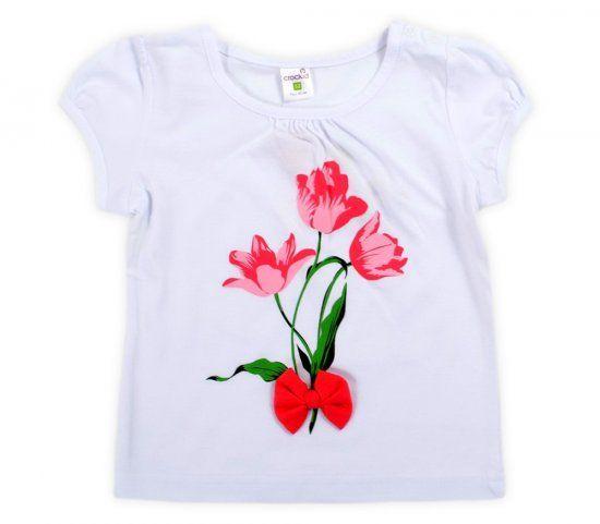 Блуза белаяТюльпаны