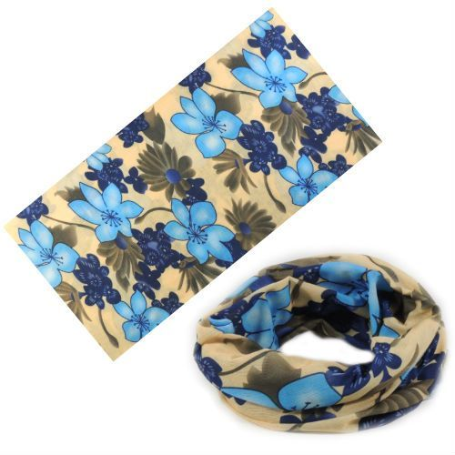Мультибандана с принтом из синих цветов