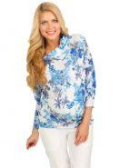 """Блуза """"Тильда"""" белая с голубыми цветами для беременных"""