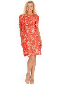 """Платье """"Олмис"""" коралловое с цветами для беременных и кормящих"""
