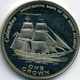 Коламбус  монета Великобритания / Тристан-да-Кунья 1 крона 2006 (Prooflike)