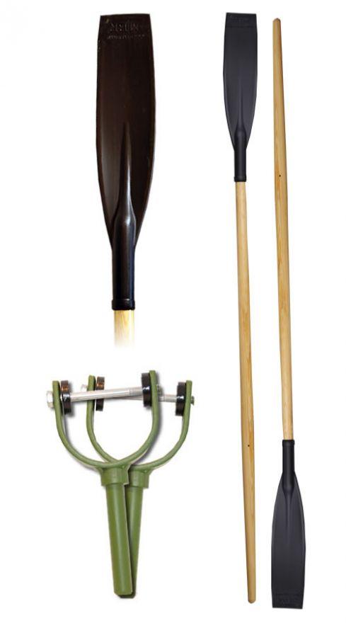 Весла деревянные с пластиковыми лопастями (пара)
