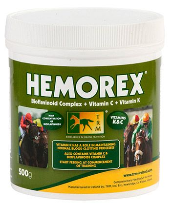 """""""Hemorex"""" TRM. Дыхательная подкормка для стартующих лошадей. Защищает от носовых кровотечений. 500 гр."""