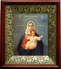 Леушинская икона Божьей Матери (21х24), киот со стразами