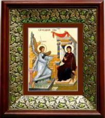 Благовещение Пресвятой Богородицы (21х24), киот со стразами