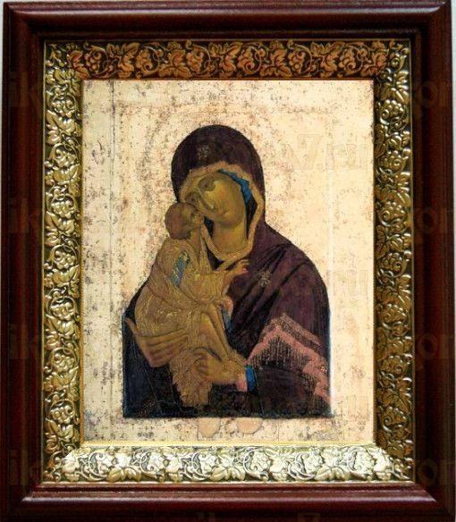 Донская икона БМ (19х22), темный киот
