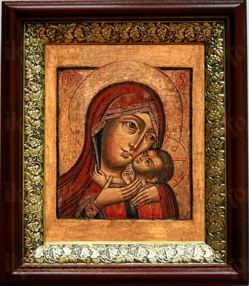Касперовская икона БМ (19х22), темный киот