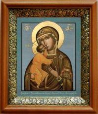 Феодоровская икона БМ (19х22), светлый киот