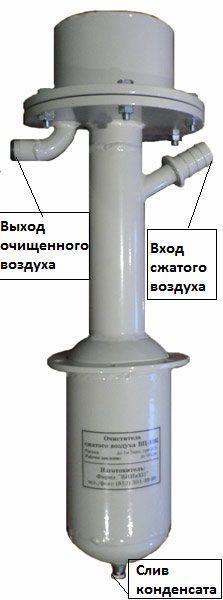 ВЦ-10.К - очиститель сжатого воздуха (влагоотделитель) от конденсата влаги, масла и механических частиц