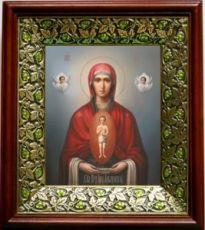 Албазинская икона БМ (21х24), киот со стразами