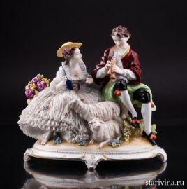 Пара с овечками, кружевная, E & A Muller, Германия, нач. 20 в