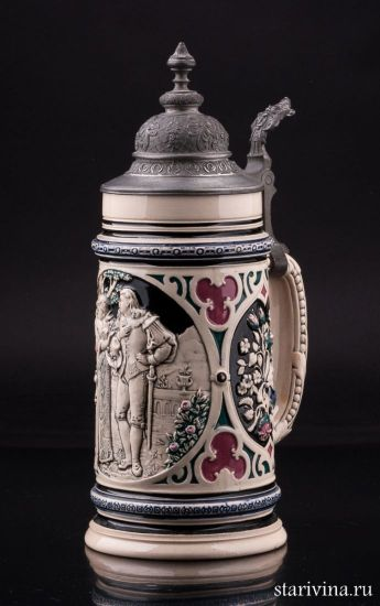 Старинная немецкая керамическая кружка Романтическое признание, 1л, Dumler & Breiden, Германия.