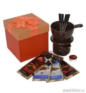"""Подарочный набор """"Шоколадный фондю"""", оранжевый"""