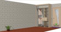 Встроенный - шкаф купе на заказ в гостиную с пескоструйным рисунком.